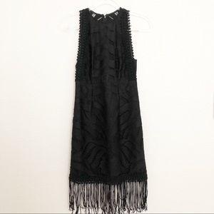 Minuet Black Lace Fringe Sleeveless Cocktail Dress